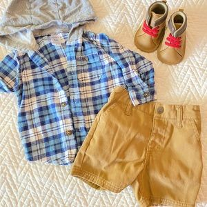 Carter's plaid + timberland shorts 6-9mo